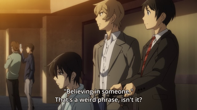 Boku dake ga Inai Machi / ERASED anime Episode 12 - Fujinoma Satoru on believing and linguistics