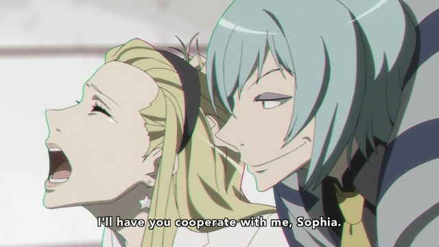 Dimension W anime Episode 11 - Haruka Seameyer threatening Sophia