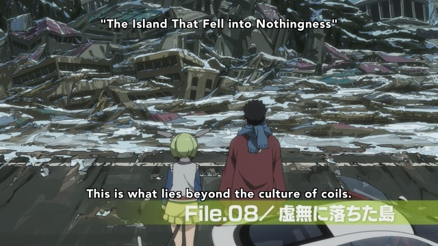 Dimension W anime Episode 5 - Mabuchi Kyouma and Yurizaki Mira look on the culture of coils