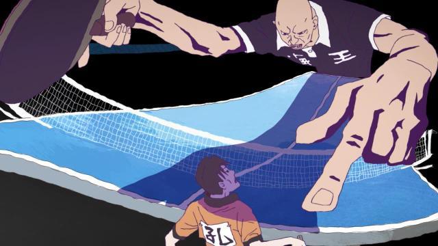 Ping Pong the Animation episode 4 notes - Kazama Ryuuichi looms over Kong Wenge