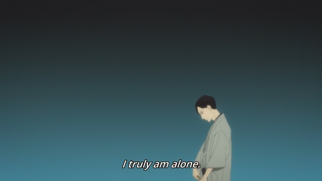 Shouwa Genroku Rakugo Shinju anime Episode 10 notes - Yakumo (Kikuhiko/Bon) is all alone