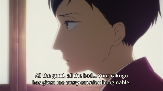 Shouwa Genroku Rakugo Shinju anime Episode 11 - Yakumo (Kikuhiko/Bon) tells Sukeroku (Shin) his rakugo has given him all possible emotions