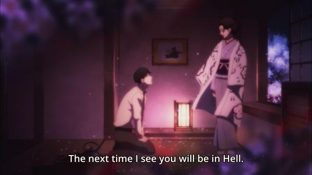 Shouwa Genroku Rakugo Shinju anime Episode 9 - Miyokichi tells Yakumo (Kikuhiko/Bon) she'll haunt him