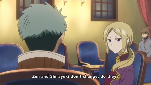 Akagami no Shirayuki Hime anime Episode 21 - Mitsuhide and Kiki on how Zen and Shirayuki don't change