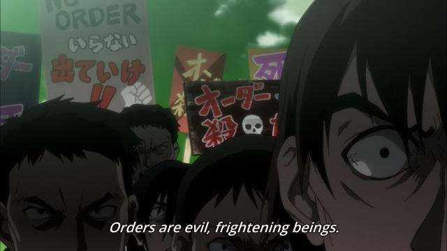 Big Order anime episode 1 - People view Orders as evil and frightening, while being frightening