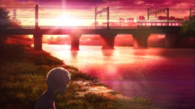 Bungou Stray Dogs anime episode 1 overview - Nakajima Atsushi sitting morose on the riverbank