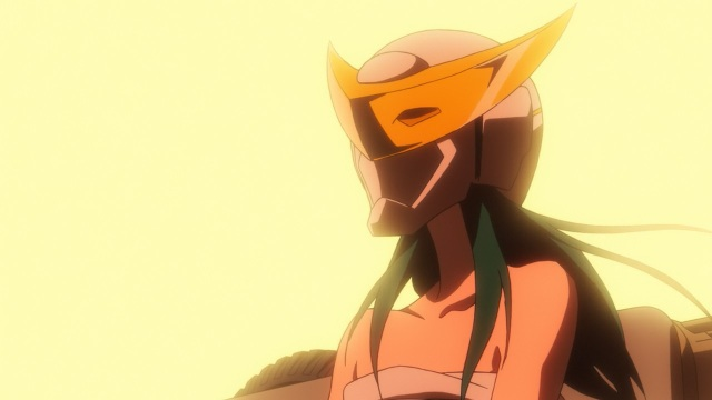 Concrete Revolutio: Choujin Gensou anime Episode 15 notes - Haruka Aki wearing The Rainbow Knight's mask