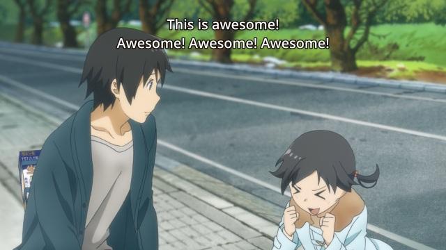 Flying Witch anime episode 1 - Kuramoto Chinatsu tells Kuramoto Kei how awesome flying was