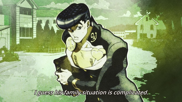 JoJo's Bizarre Adventure Part 4 Diamond Is Unbreakable anime episode 1 - Higashikata Jousuke commenting on the Joestar family situation