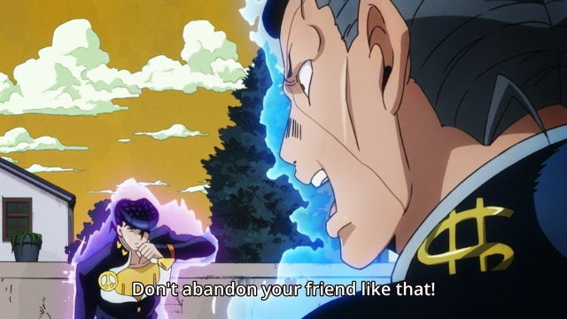 JoJo's Bizarre Adventure Part 4 Diamond Is Unbreakable anime episode 3 - Higashikata Jousuke gets told off by Nijimura Okuyasu for abandoning his friend