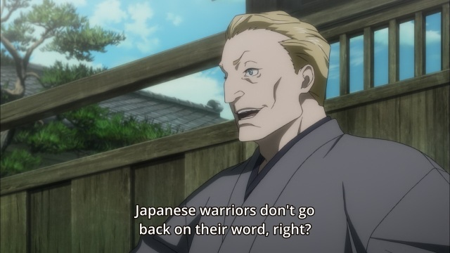Joker Game anime episode 1 notes - The westerner speaks of Japanese warriors' honour