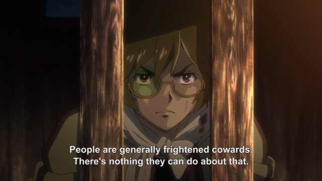 Koutetsujou no Kabaneri anime / Kabaneri of the Iron Fortress anime episode 1 - Ikoma and cowardice