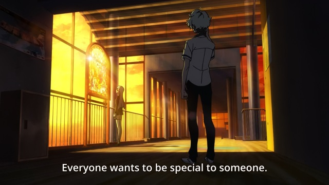 Kiznaiver anime episode 1 - Sonozaki Noriko tells Agata Katsuhira we all want to be special to someone