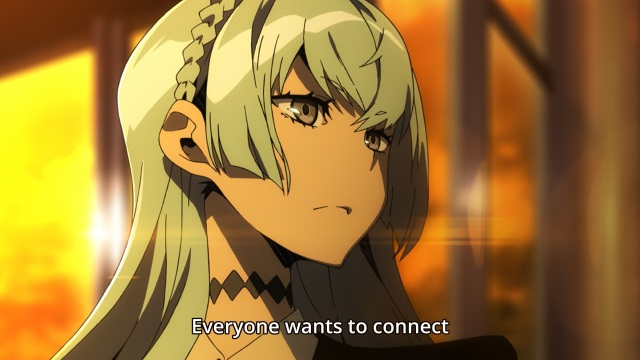 Kiznaiver anime episode 1 - Sonozaki Noriko tells Agata Katsuhira everyone wants to connect