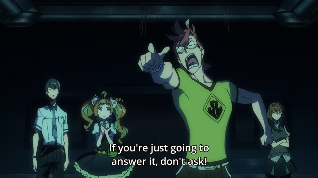 Kiznaiver anime episode 1 - Tenga Hajime is angry he's not allowed to answer