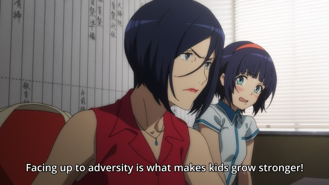 Kuromukuro anime episode 1 - Shirahane Koharu speaks of how adversity will help Shirahane Yukina, who is uncomfortable