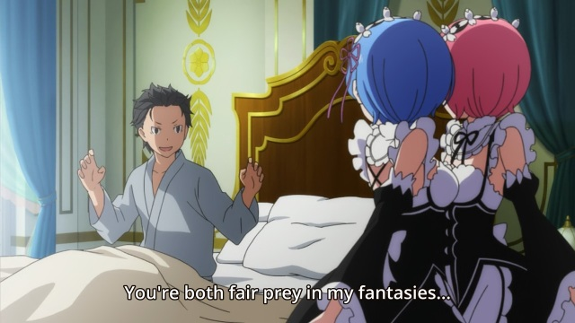re:Zero Kara Hajimeru Isekai Seikatsu anime / Re:ZERO -Starting Life in Another World- / ReZero anime episode 4 - Natsuki Subaru creeps Rem and Ram