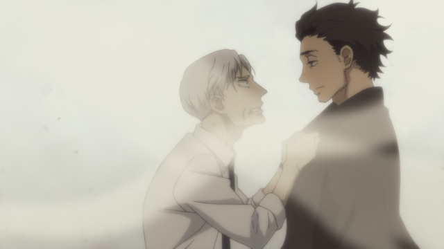Shouwa Genroku Rakugo Shinju anime Episode 13 notes - Yakumo (Kikuhiko/Bon) grabs the ghost of Sukeroku (Shin)