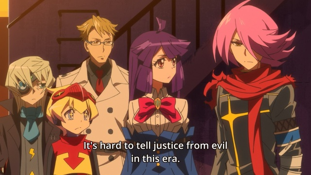 Concrete Revolutio: Choujin Gensou anime Episode 19 notes - Hitoyoshi Jirou on how today's morality is ambiguous