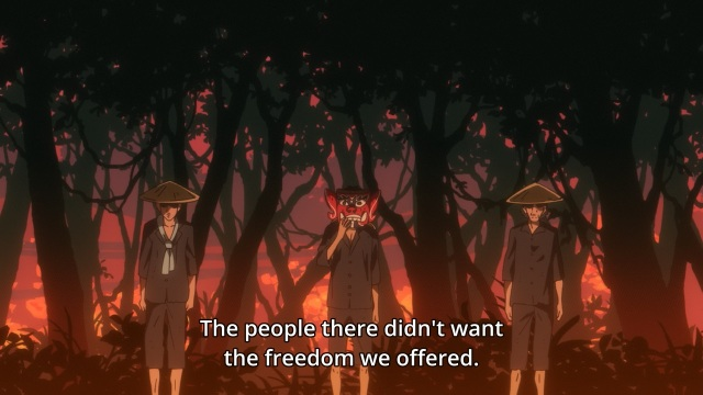 Concrete Revolutio: Choujin Gensou anime Episode 20 notes - Jonathan Morrell on natives not wanting their freedom