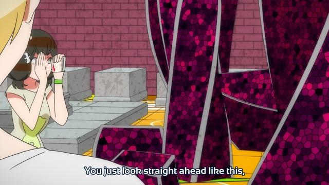 Gatchaman Crowds anime episode 2 - Ichinose Hajime telling Tachibana Sugane he's got blinders on.