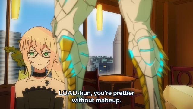 Gatchaman Crowds anime episode 6 - Ichinose Hajime telling Nonmiya Rui he's prettier without make-up.