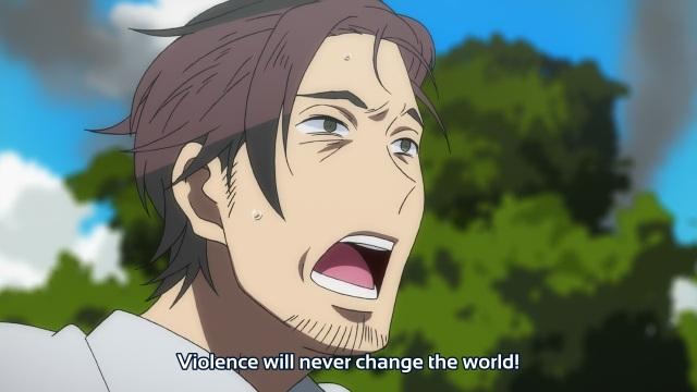 Gatchaman Crowds anime episode 12 - Kouichi Umeda decrying violence
